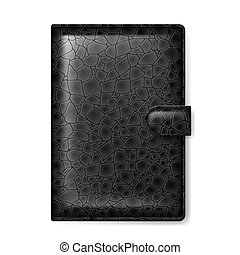 Leather wallet - Black leather wallet. Illustration on white...