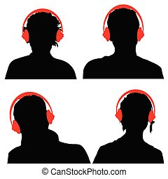 people with headphones black silhouette - people with red...