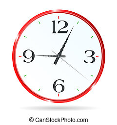 clock for the room wall in red vector illustration