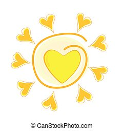 sun vector illustration with heart on white background