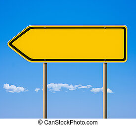 Blank yellow road sign, direction pointer
