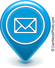 Email Map Location Icon - Email Icon Map Pin isolated on...