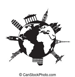 europe icons - europe sights over planet background. vector...