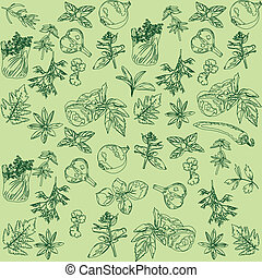seamless background with herbs - Seamless green background...