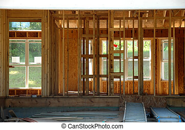 Interior of Housee Framing - Interior of house framing with...