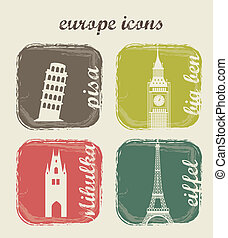 europe icons over beige background vector illustration