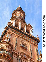 Seville, Spain - Famous North Tower Torre Norte at Plaza de...