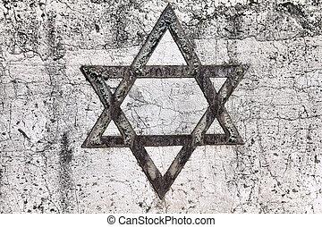 Jewish star - Star of David - Jewish symbol on an old Hebrew...