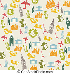 europe icons over beige background. vector illustration