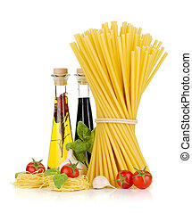 Pasta, tomatoes, basil, olive oil, vinegar, garlic and...