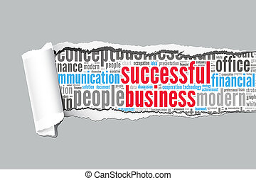 Torn Paper with successful business info-text graphics and arrangement concept  (word cloud)