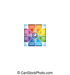 Eight stage color changing workflow chart - Eight stage...