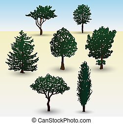 Types of tree illustration - Hand drawn illustration...