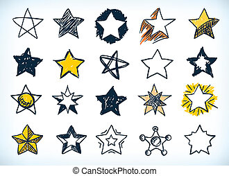 Collection of handdrawn stars - Collection of sixteen...
