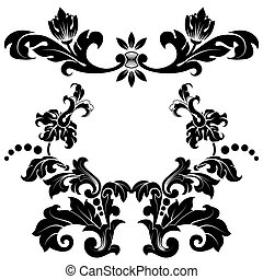 Stylized floral pattern - Calligraphic ornamentation. Set of...