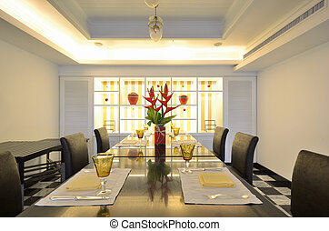 Dining table - Luxurious dining table and chairs.