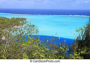 Bora Bora island - View from Bora Bora on the lagoon and the...