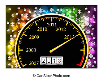 New Year 2013 - Speedometer with coming new year is shown in...