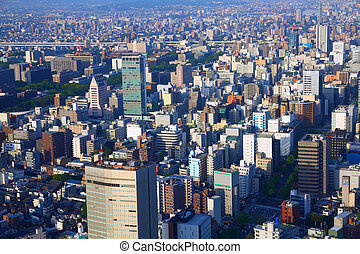 Nagoya, Japan - city in the region of Chubu. Aerial view...