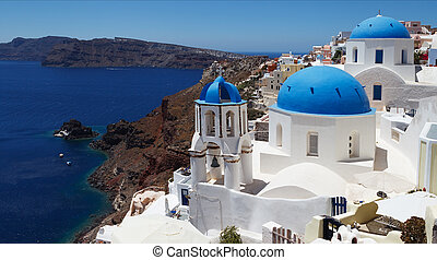 Greece, Santorini Views - Beautiful view of famous Greek...