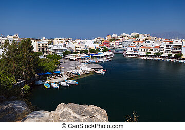 Panorama of Aghios Nikolaos town in Crete - Panorama of...