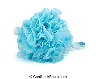 Bath puff - Blue plastic bath puff isolated on white