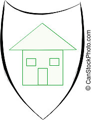 Protect your house sign, illustration over white