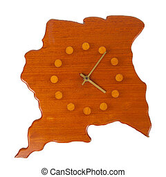 Wooden clock in the shape of the country Suriname - Wooden...