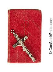 antigüidade, bíblia, antigas, crucifixos, fundo, branca