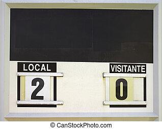 Punctuation marker - Marker of scoring at estadio de futbol,...