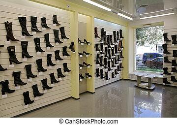 modern shoe store - Fashionable female footwear in modern...