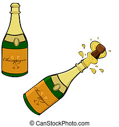 Champagne bottle - Cartoon illustration showing two...
