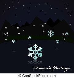 Snowing on the lake at night - Illustration showing a night...