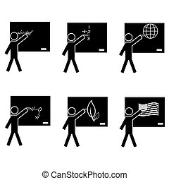 School icons - Black and white icon set showing a teacher on...