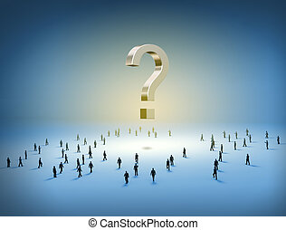 People walking towards a question mark - Group of tiny...