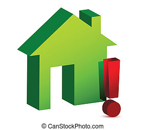 house and exclamation sign over a white background