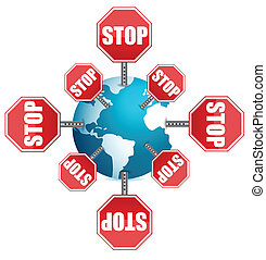 stop sign around the globe illustration design