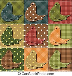 patchwork background with pigeons vector illustration