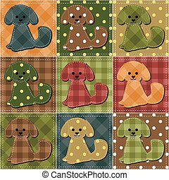 patchwork background with dogs vector illustration