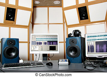 audio studio - work place of audio engineer of professional...
