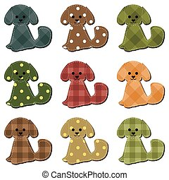 nice scrapbook dogs on white background vector