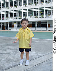 asian boy - Cute asian young boy in the school