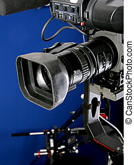 camcorder on crane - dv camcorder stand on cinema crane with...