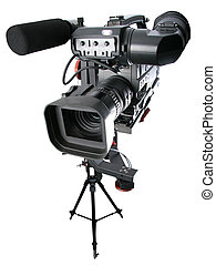 dv-camcorder on crane - isolated image of dv-camcorder on...