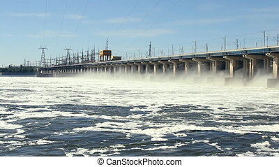 hydroelectric power station on the - Reset of water at...