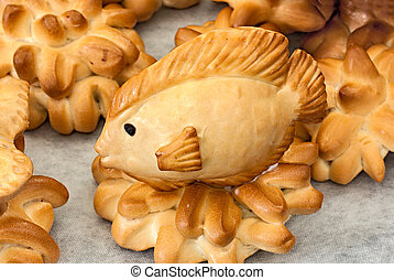 fish of bread, artistic edible sculpture on display in the...