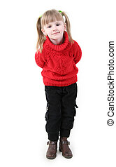 girl in red cardigan - Little girl in red cardigan stand and...