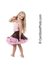 Little girl in tutu skirt - Shot of little girl with long...