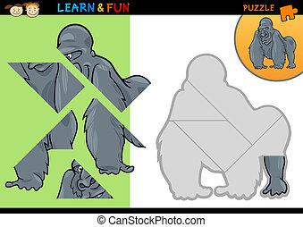 Cartoon gorilla puzzle game