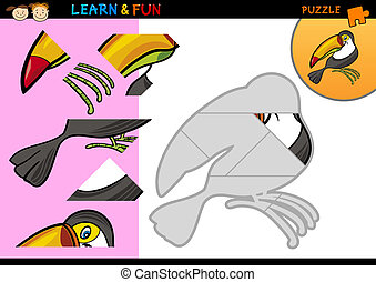 Cartoon toucan puzzle game - Cartoon Illustration of...